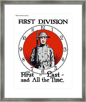 Us Army First Division - Ww1 Framed Print by War Is Hell Store