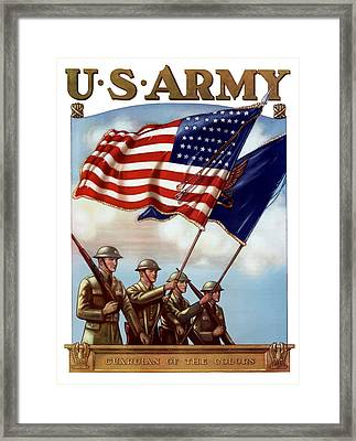 Us Army -- Guardian Of The Colors Framed Print by War Is Hell Store