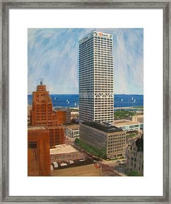 Us Bank And Sailboats Framed Print by Anita Burgermeister