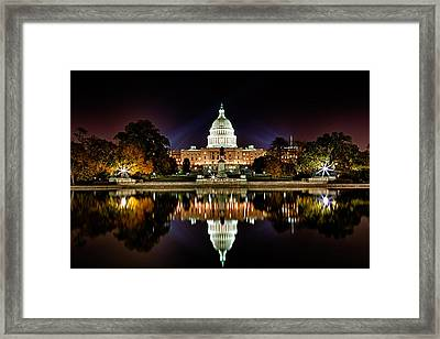 Us Capitol Building And Reflecting Pool At Fall Night 1 Framed Print by Val Black Russian Tourchin