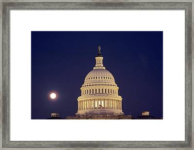 U.s. Capitol Building Lit Framed Print by Kenneth Garrett