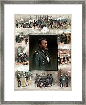 Us Grant's Career In Pictures Framed Print by War Is Hell Store