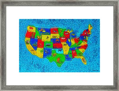 Us Map With Theme  - Special Finishing -  - Da Framed Print by Leonardo Digenio