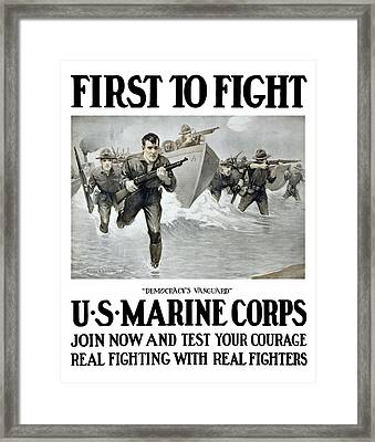 Us Marine Corps - First To Fight  Framed Print by War Is Hell Store
