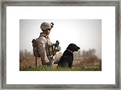 U.s. Marine Holds Security In A Field Framed Print by Stocktrek Images