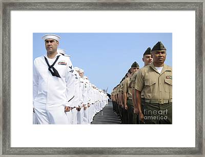 U.s. Marines And Sailors Stand Framed Print by Stocktrek Images