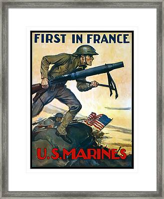 Us Marines - First In France Framed Print by War Is Hell Store