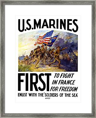 Us Marines - First To Fight In France Framed Print by War Is Hell Store
