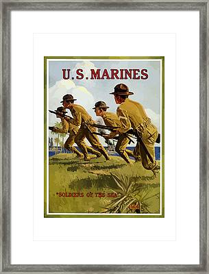 Us Marines - Soldiers Of The Sea Framed Print by War Is Hell Store