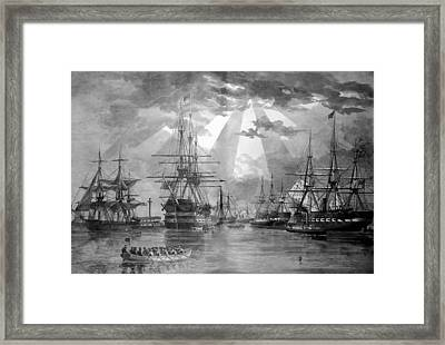 U.s. Naval Ships At The Brooklyn Navy Yard Framed Print by War Is Hell Store