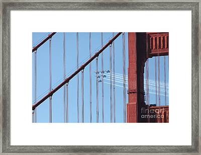 Us Navy Blue Angels Beyond The San Francisco Golden Gate Bridge - 5d18956 Framed Print by Wingsdomain Art and Photography
