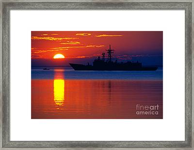 Us Navy Destroyer At Sunrise Framed Print by Thomas R Fletcher