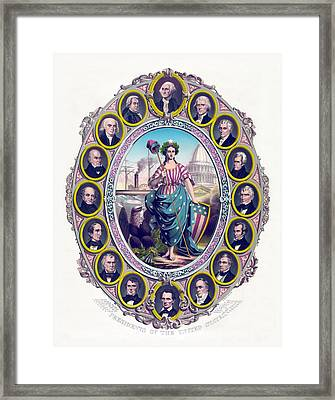 Us Presidents And Lady Liberty  Framed Print by War Is Hell Store