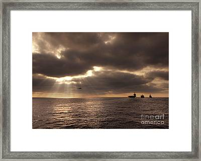 U.s. Ships Participate In An Replenishment At Sea Framed Print by Celestial Images