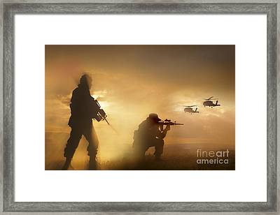 U.s. Special Forces Provide Security Framed Print by Tom Weber