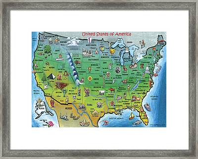 Usa Cartoon Map Framed Print by Kevin Middleton