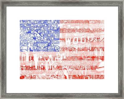 Usa Flag 1 Framed Print by Bekim Art