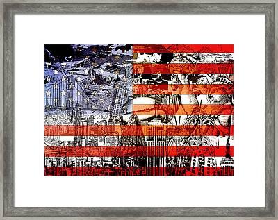 Usa Flag 3 Framed Print by Bekim Art