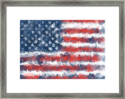 Usa Flag Brush Strokes Framed Print by Bekim Art