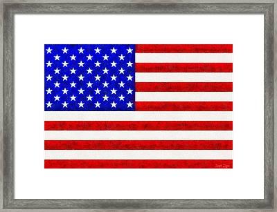 Usa Flag  - Fine Wax Style -  - Da Framed Print by Leonardo Digenio