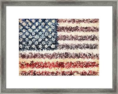 Usa Flag Floral 3 Framed Print by Bekim Art