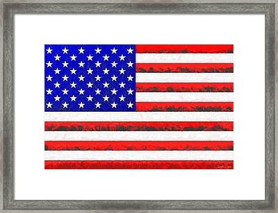 Usa Flag  - Free Colorful Style -  - Pa Framed Print by Leonardo Digenio