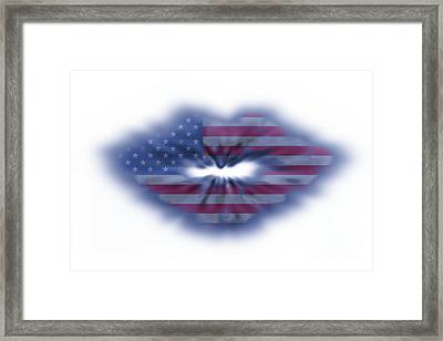 Usa Flag Lips Framed Print by Simon Bratt Photography LRPS