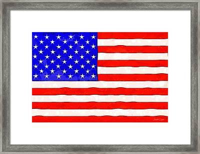 Usa Flag  - Van Gogh Style -  - Da Framed Print by Leonardo Digenio