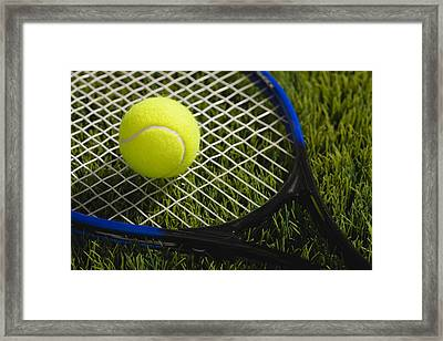 Usa, Illinois, Metamora, Tennis Racket And Ball On Grass Framed Print by Vstock LLC