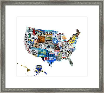 Usa License Plates Map 4p Framed Print by Brian Reaves