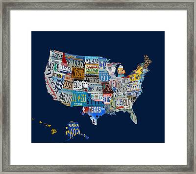 Usa License Tag Map 1a Framed Print by Brian Reaves