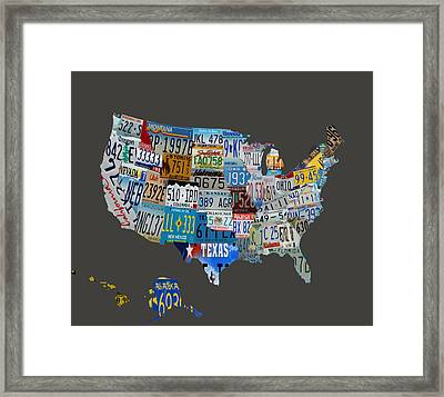 Usa License Tag Map 1b Framed Print by Brian Reaves