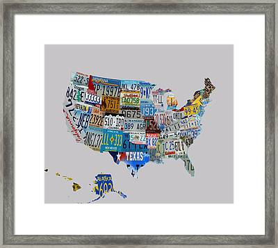 Usa License Tag Map 1e Framed Print by Brian Reaves