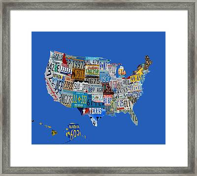 Usa License Tag Map 1g Framed Print by Brian Reaves