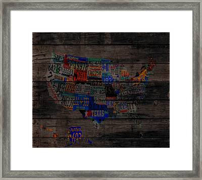 Usa License Tag Map 1w Framed Print by Brian Reaves
