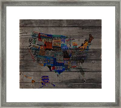 Usa License Tag Map  W3 Framed Print by Brian Reaves