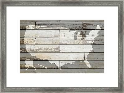 Usa Map Of America Outline On White Barn Wood Planks Framed Print by Design Turnpike