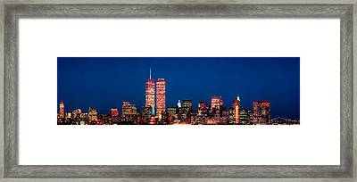 Usa, New York City, Skyline With World Framed Print by Panoramic Images