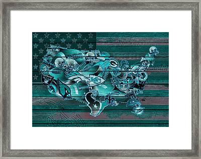 Usa Nfl Map Collage 3 Framed Print by Bekim Art