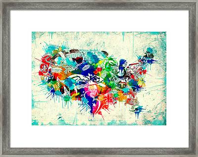 Usa Nfl Map Collage 5 Framed Print by Bekim Art