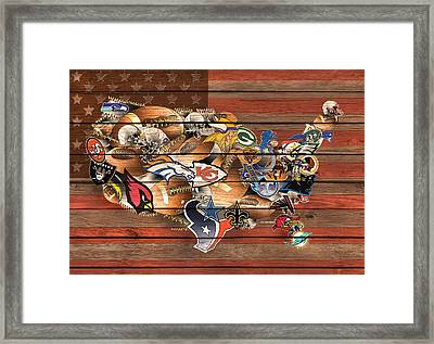 Usa Nfl Map Collage 6 Framed Print by Bekim Art