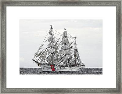 Uscg Barque Eagle Framed Print by Max Mudie