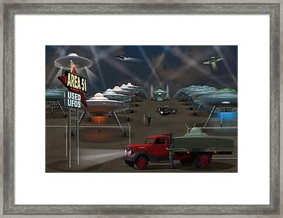 Area 51 Used U F O S Framed Print by Mike McGlothlen
