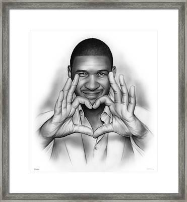 Usher Framed Print by Greg Joens