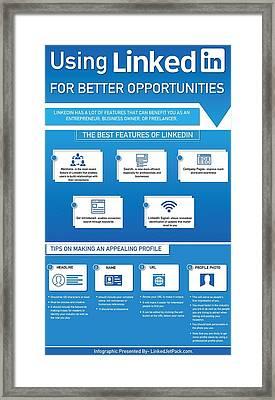 Using Linkedin For Better Opportunities Framed Print by Tipsfor Using