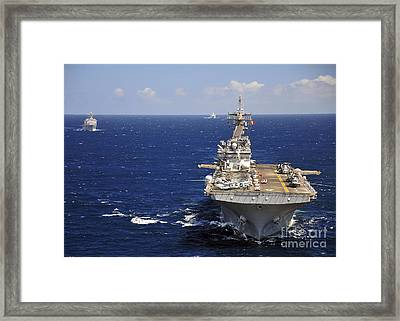 Uss Boxer Leads A Convoy Of Ships Framed Print by Stocktrek Images