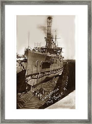 U.s.s. California In Dry Dock Sept. 11 1911 Framed Print by California Views Mr Pat Hathaway Archives