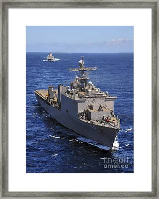 Uss Comstock Leads A Convoy Of Ships Framed Print by Stocktrek Images