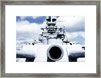 Uss Massachussetts - 16 Inch Gun Framed Print by George Martinez
