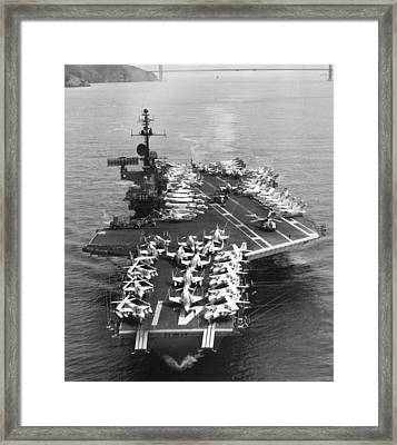 Uss Midway Leaves Sf Framed Print by Underwood Archives